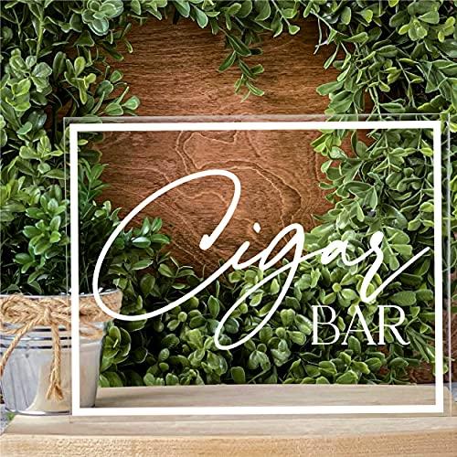 Cigar Bar Sign for Weddings Mens Birthday Party Decor Decorations Acrylic Table Sign
