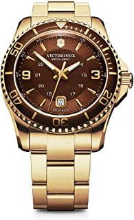 Victorinox Men's Gold Stainless Steel Bracelet with Brown Analogue Dial Quartz Movement 241607-2