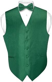 Men's Dress Vest & Bowtie Emerald Green Color Vertical Stripe Design Bow Tie Set