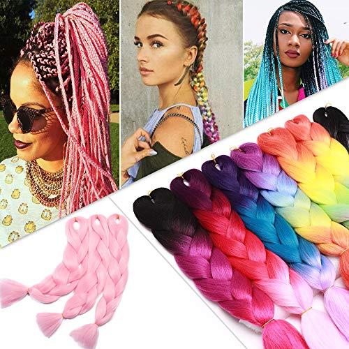 24 Inch Jumbo Braids Hair Extensions High Temperature Synthetic Hair African Rainbow Box Braiding Hair for Senegal Twist 100g/pack Pink