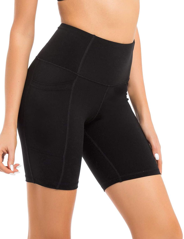 Coastal pink Women's High Waist Workout Shorts Tummy Control Yoga Shorts 7  Bike Shorts Sports Legging with Side Pocket