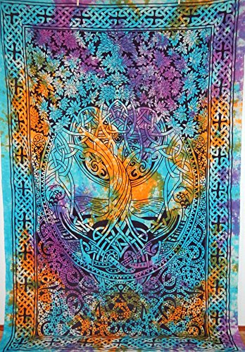 4Rissa Tie Dye Celtic Tree of Life Infinity Knot Tapestry Wall Hanging Bedspread