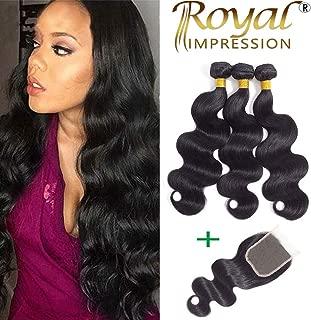 10A Brazilian Virgin Body Wave 3 Bundles with Closure (18 20 22+16) Virgin Brazilian Human Hair Bundles with Closure Free Part 100% Unprocessed Remy Hair Bundles with Closure Natural Color