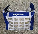 HAYGRAZER BAG - HAY FEEDER FOR HORSES OR PONIES FOR SLOW FEEDING, PREVENTS WASTAGE AND BOREDOM ON BOX REST OR DURING TRAVEL (NAVY/BEIGE)