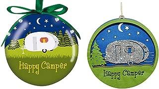 2 Happy Camper Christmas Ornaments, Light Up Vintage Camper and Laser Cut Wood