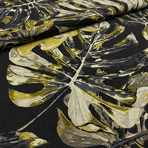 Kt KILOtela Tela de loneta Estampada - Retal de 100 cm Largo x 280 cm Ancho | Hojas Tropicales - Negro, Azul, Verde, Amarillo ─ 1 Metro