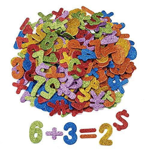 Oumezon 168 Stück Moosgummi Zahlen Glitter Schaumstoff Aufkleber Zahlen Sticker Selbstklebend Zahlen Glitter Zahlen Foam Aufkleber für Kinder DIY Handwerk Deko Farben Moosgummi Aufkleber 0-9