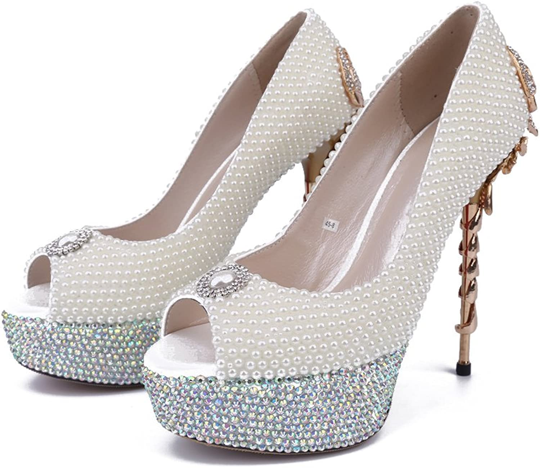 Lacitena White Rhinestone Womens Unique Heels shoes