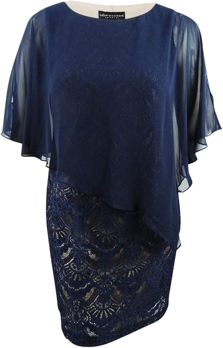 Connected Women's Petite Lace & Chiffon Popover Dress