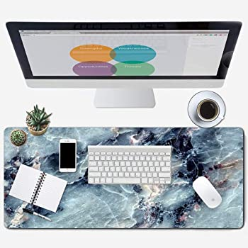 "ZYCCW Large Gaming Mouse Pad, Oversized Extended Mat Desk Pad Keyboard Pad (31.5""x11.8""x0.15"") Thick Non-Slip Rubber Stitched Edges (Blue Marble Agate)…"