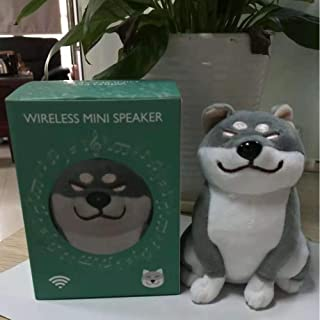 RONSHIN Electronic Cute Cartoon Plush Dog Wireless Bluetooth Speaker Stereo Super Bass Subwoofer Home Decoration Gray