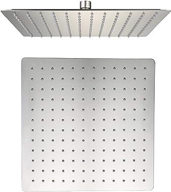 AWARA 12 Inch Rain Shower Head, High Pressure Rainfall Square Shower Head, Ultra Thin 304 Stainless Steel Large Shower Head B