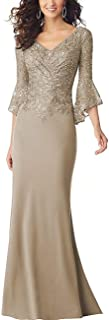 Lace Beaded Bodycon Mermaid Mother of The Bride Dresses Lace Ruffle Sleeves Long Evening Party Gown