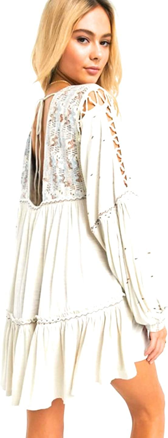 Free People Womens Much Love Cotton Boho Tunic Top Ivory