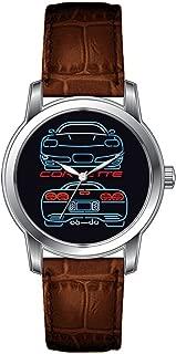 JLS Creative Watches Men's Vintage Design Leather Brown Band Wrist Watch Corvette Watch