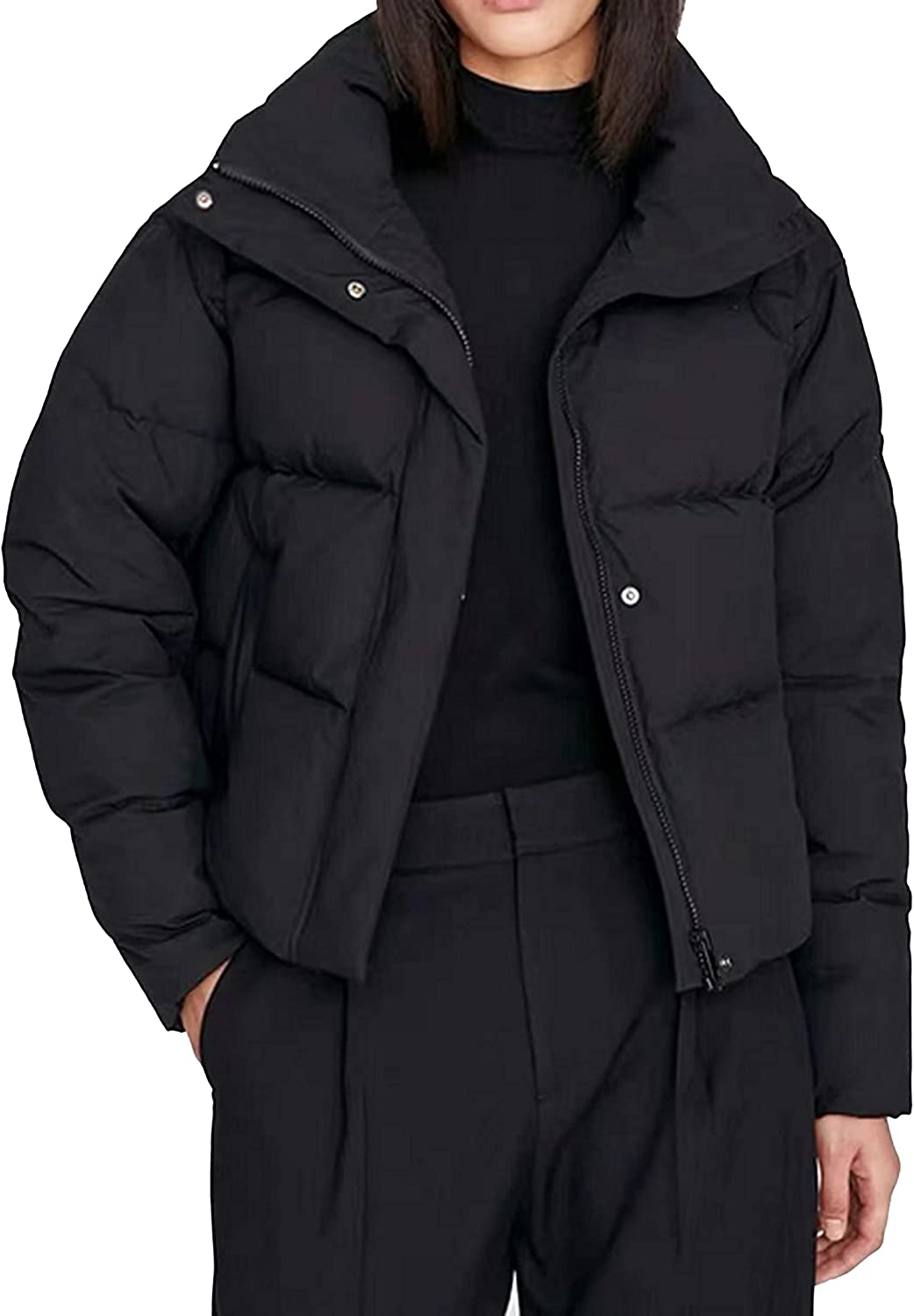 UANEO Womens Casual Zip Up Button Down Stand Collar Loose Short Winter Coat Puffer Jacket