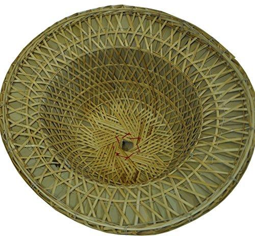 Chapeau de Soleil fabriqué à la Main, Paille Naturelle, Bambou, décoration Artisanale (80077)
