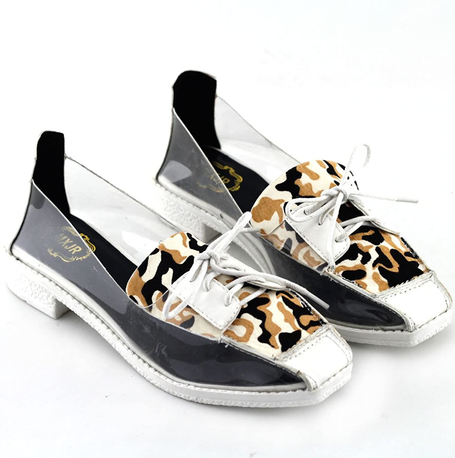 Show Story Leopard Print Clear Lace-up Square Toe Low Heels Casual shoes,QT78F12