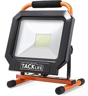 Tacklife 5000LM 50W LED Work Light [100LED,400W Equivalent], IP65 Waterproof Flood Light, Adjustable Standing Work Lights for Workshop, Construction Site, Fishing