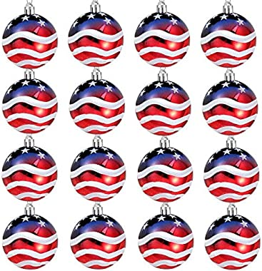 Iceyyyy 16PCS Independence Day Ball Ornament - 2.36Inch 4th of July Patriotic Hanging Ball Decoration American Flag Ornament