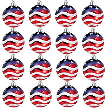 Iceyyyy 16PCS Independence Day Ball Ornament - 2.36Inch 4th of July Patriotic Hanging Ball Decoration American Flag Ornament for Independence Day Christmas Tree USA Themed Party Supplies