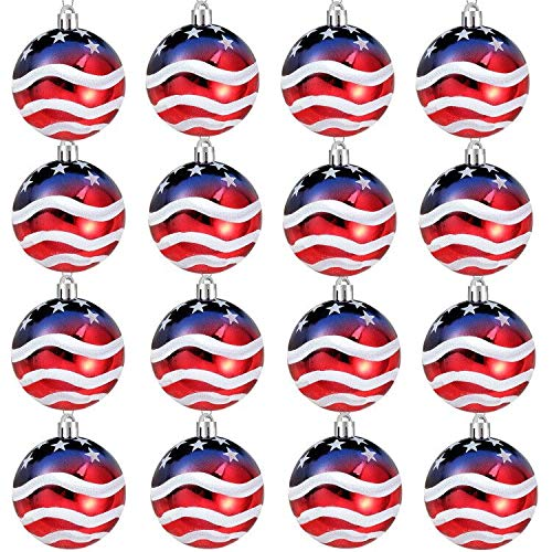 Iceyyyy 16PCS Independence Day Ball Ornament - 2.36Inch 4th of July Patriotic Hanging Ball Decoration American Flag Ornament for Independence Day, Christmas Tree, USA Themed Party Supplies