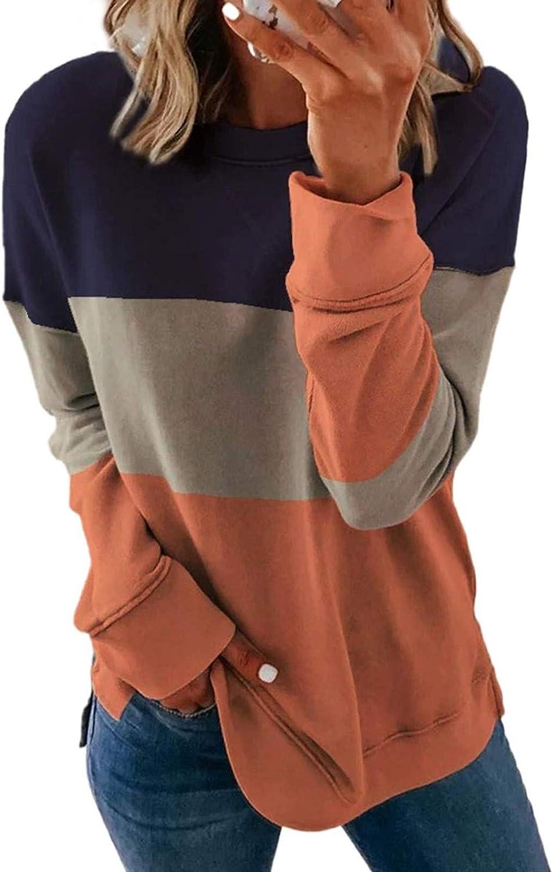 Sweatshirts for Women,Women's Casual Striped Tie Dye Round Neck Long Sleeve Pullover Loose Sweatshirt Tops