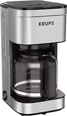 KRUPS Simply Brew Family - Cafetera con filtro de goteo para 10 tazas con acabado de acero inoxidable, color plateado, 10 tazas/55 onzas