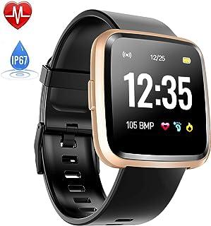 Montre Connectée Cardiofréquencemètre, Hommie Bracelet Connecté Podomètre GPS Fitness Tracker dActivité Tension Artérielle