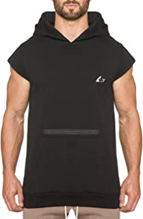 Men's Drop Shoulder Workout Hoodie Sleeveless Gym Casual Sweatshirt