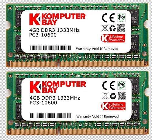 Komputerbay KB_8GB_2X4GBDDR3_SO1333_APPLE4 - Memoria RAM SODIMM DDR3 de 8GB (2x 4GB), 204...