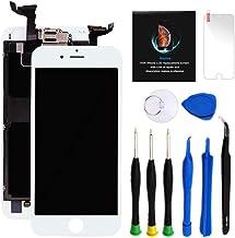 کیت تعویض صفحه نمایش آیفون 6 اس پلاس سفید 5.5 اینچی صفحه نمایش LCD آیفون 6S پلاس دیجیتایزر صفحه لمسی جایگزین مونتاژ کامل با دوربین جلو + گوشواره + کیت ابزار تعمیر + محافظ صفحه نمایش (سفید)