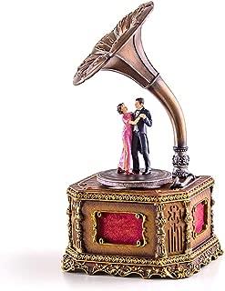 Caja de música Shanghai caja de música caja de música antigua fonógrafo regalo de cumpleaños creativo retro de la novia de la caja de música de baile romántico Caja de musica para madera ( Color : A )