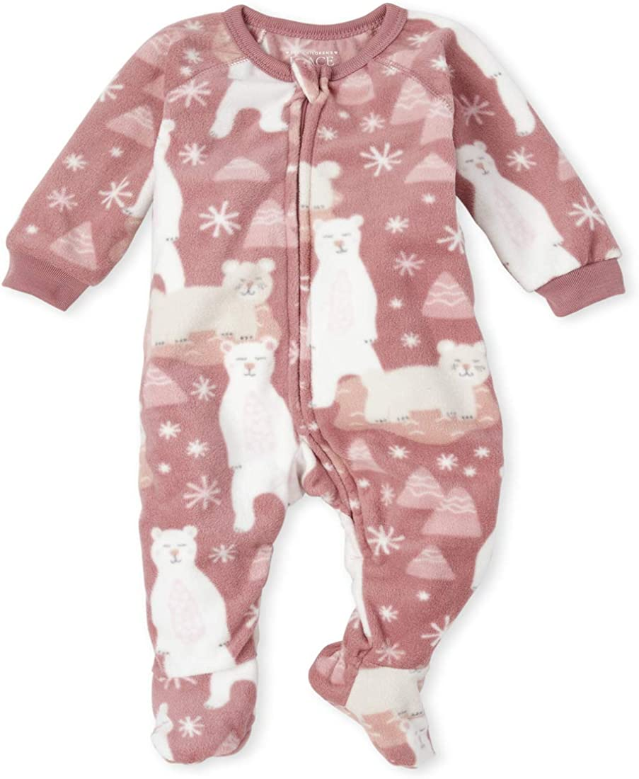 The Children's Place Girls' Baby and Toddler Polar Bear Fleece One Piece Pajamas