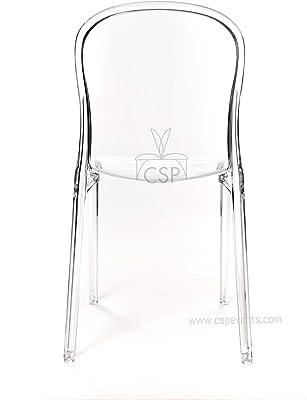 Amazon.com: Victoria Ghost Silla Claro – Side Chair Armless ...