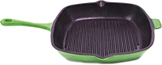 11-inch Green Cast Iron Grill Pan Metal Oven Safe