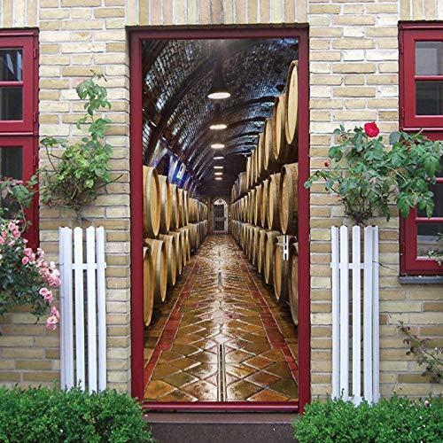 LuSeven vinilos para puertas de armario Bodega barriles de vino luces. 90x200cm(35.43 inches * 78.74 inches) Papel Pintado Puerta 3D Salon Fotomurales Pared 3D Etiqueta de Puerta Autoadhesiva Puertas