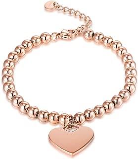 zindov Heart Charm Bracelet Stainless Steel Rose Gold Beaded Bracelet Women Silver Color Fashion Jewelry Ladies