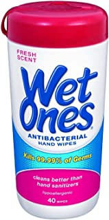 Wet Ones Antibacterial Hands & Face Wipes Fresh Scent 40 Count Canister (Pack of 4)