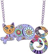 Unique Acrylic Cat Necklace Choker Chain Cute Animal Design Jewelry for Women Style,Purple