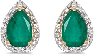 Emerald and Diamond Earrings set in 14K Gold