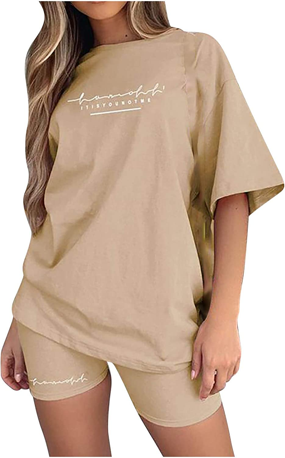 Women T-Shirts for Summer O-Neck Beauty products Two Shorts Set and Wo Fashionable Piece Top