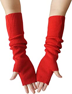 Women's Arm Warmers with Thumb Hole 40cm Winter Fingerless Stretchy Wool Long Gloves Sleeves