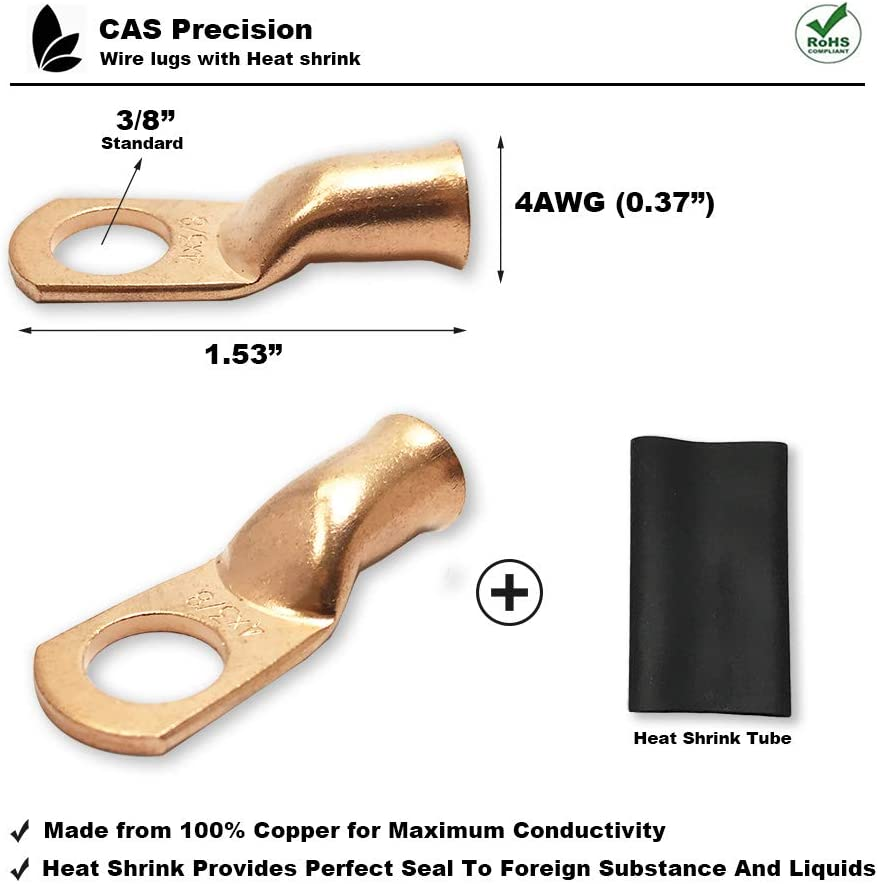 6AWG 3//8 Ring Ring Terminal Connectors Battery Wire Lugs Pure Copper Heavy Duty Cable Ends with Heat Shrink Tube 2AWG 4AWG 6AWG 8AWG