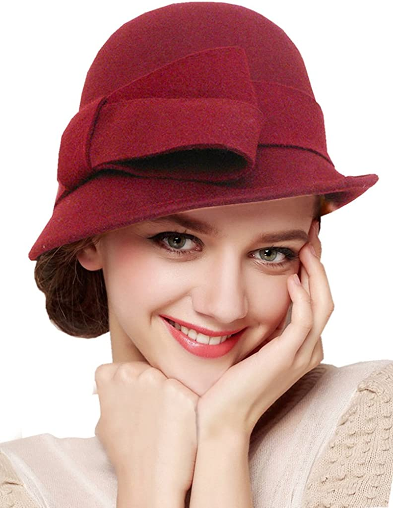 1920s Style Hats Bellady Women Solid Color Winter Hat 100% Wool Cloche Bucket with Bow Accent  AT vintagedancer.com