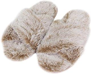 FamiPort Girls Pink Fuzzy Fur Slippers Open Toe Slip on House Slippers for Women Soft Memory Foam Spa Bedroom