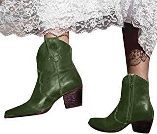 GHrcvdhw Women's Stylish Ankle Knee Side Zip Bare Solid Color Boots Leisure Shallow Square Heel Round Head Short Booties