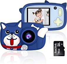 QUELLANCE Kids Digital Camera Gifts for Girls Boys, 15MP and 1080P HD Shockproof Mini Cartoon Child Camcorder, Rechargeable Children Selfie Toy Camera for 3-14-Year-Old, Dark Blue