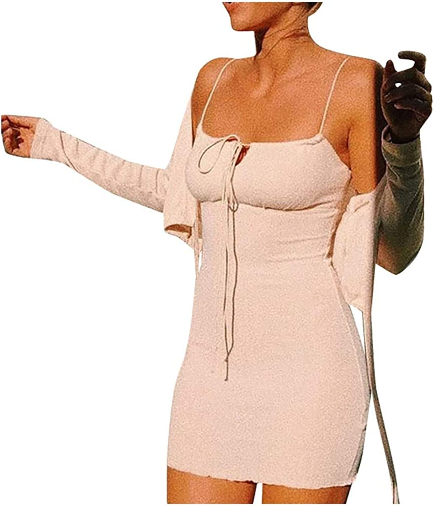 〓COOlCCI〓Slip Dress,Women Open Back Sexy Spaghetti Strap Bodycon Ruched Club Mini Party Dress Cami Fit Slim Mini Dress