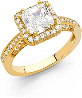 2019 Fashion Solitaire Ring Diamonds Yellow Princess And Round Over 1 Carats